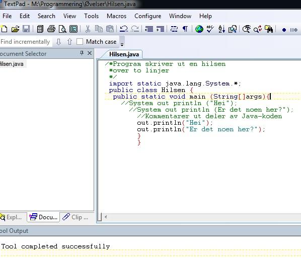 Min første Java programmering