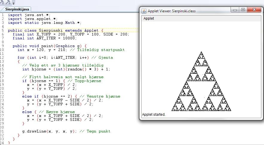 En typisk javatekst i TextPad. Til høyre ser du resultatet av programmeringen.