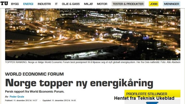 Norge er best i verden - igjen. Nå er det Norge som er best posisjonert for fremtidens energibruk. Hyggelig lesning for alle oss som har kjøpt sparepære.