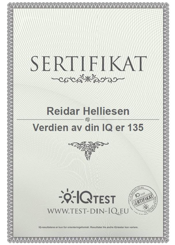 Veldig moro å klare 135 i IQ test. Da skal man være blant verdens 2 prosent smarteste dersom testen stemmer.