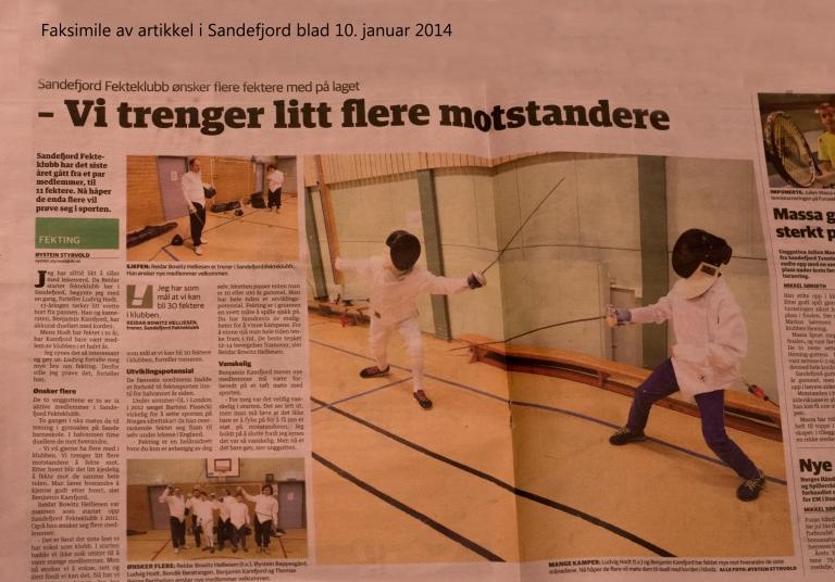 Sandefjord blad laget et fint oppslag om klubben vår. God reklame.