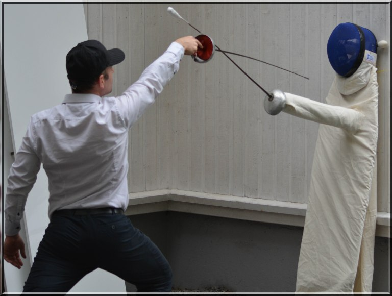 Fencing is fun. My handmade epee dummy.